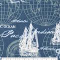 Anti-Pill Plush Fleece Fabric-Script Nautical Schooners
