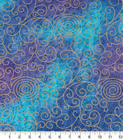 Legacy Studio Indian Batiks Cotton Fabric -Purple Scrolls Metallic, , hi-res
