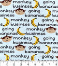 Snuggle Flannel Fabric -Monkey Business Words