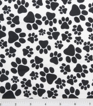 Snuggle Flannel Fabric -Black Paws