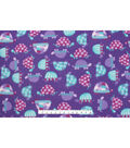 Anti Pill Fleece Fabric -Purple Patterened Turtles