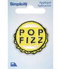 Simplicity Yellow Bottle Cap Iron-on Applique-Pop Fizz