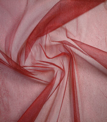 Netting Glitter Tulle Fabric -Tango Red