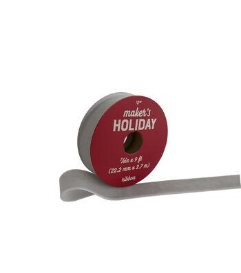 Maker's Holiday Christmas Arctic Frost Velvet Ribbon 7/8''x9'-Light Gray