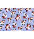 Sportswear Apparel Stretch Twill Fabric 57\u0027\u0027-Bouquet Floral on Blue