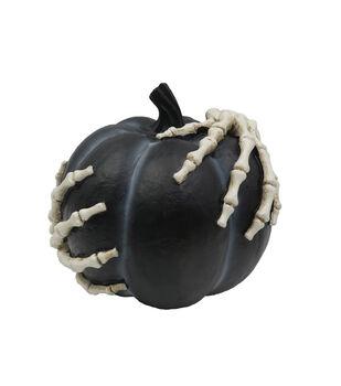 Maker's Halloween Short Novelty Pumpkin with Skeleton Hands