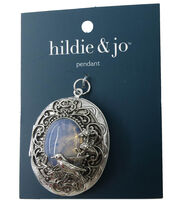 hildie & jo Oval Locket Pendant-Silver, , hi-res