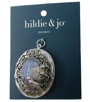 hildie & jo Oval Locket Pendant-Silver