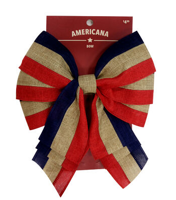 """Americana 2.5"""" Linen Bow-Red, Natural & Blue Stripe"""