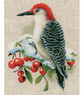 Vervaco 8\u0027\u0027x10\u0027\u0027 Aida Counted Cross Stitch Kit-Red Woodpecker