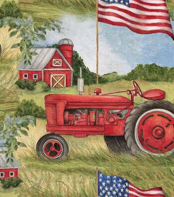 Patriotic Cotton Fabric 43''-Patriotic Tractor