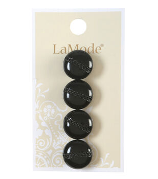 LaMode Black With Etched Chain Button