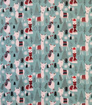"Doodles Christmas Cotton Fabric 57""-Aqua Holiday Llama"
