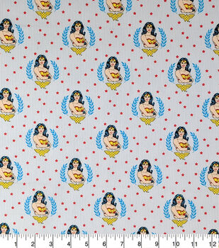 Wonder Woman Cotton Fabric-Stripes And Stars