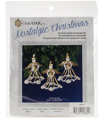 Solid Oak Nostalgic Christmas Beaded Crystal Ornaments Kit-Golden Angels