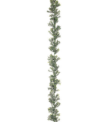 Bloom Room 6' Plastic Boxwood Garland-Green