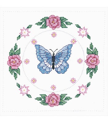 """Stamped White Quilt Blocks 18""""X18"""" 6/Pkg-Butterfly Rose"""
