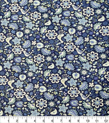 Quilter's Showcase Cotton Fabric-Folk Floral Navy Purple