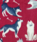 Anti-Pill Plush Fleece Fabric-Huskies & Corgis
