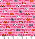 Snuggle Flannel Fabric 42\u0022-Meow Words Pink