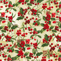 Christmas Cotton Fabric-Berries & Holly with Glitter