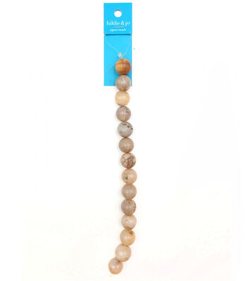 hildie & jo Round Agate Strung Beads-Tan & Ivory
