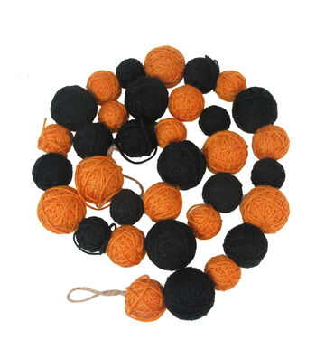 Maker's Halloween 60'' Yarn Ball Garland-Orange & Black