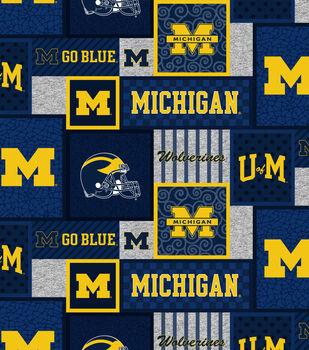 Michigan Wolverines Fleece Fabric-College Patch