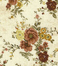 Premium Wide Cotton Fabric-Vine & Floral Bouquet on Natural