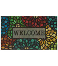 Mohawk Homes Doormat-Stained Glass Floret Tile Circles & Welcome