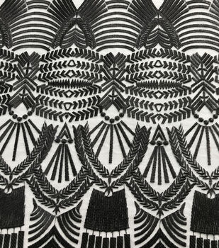 Embroidered Mesh Decor Fabric-Black