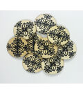 Organic Elements Wood Buttons 1.25\u0022-Black & White Leaf Pattern