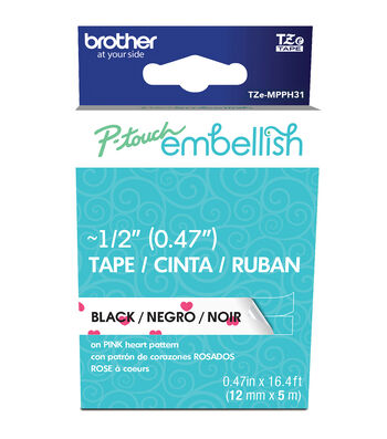 Brother P-touch Embellish Pattern Tape-Black Print on White with Heart