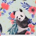 Anti-Pill Plush Fleece Fabric-Floral Panda On Aqua