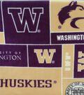 University of Washington Huskies Fleece Fabric -Block