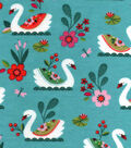 Snuggle Flannel Fabric -Pretty Swans