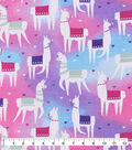 Snuggle Flannel Fabric-Tossed Llamas on Multi
