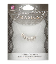 Jewelry Basics 4mmx8mm Rondelle-Silver W/Crystal, , hi-res