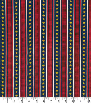 Patriotic Cotton Fabric-Stripes with Gold Stars Glitter