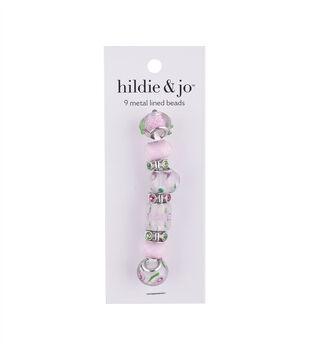 hildie & jo Mix & Mingle Metal Lined Glass Beads-Light Pink