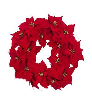 Handmade Holiday Christmas 24'' Allover Poinsettia Wreath-Red