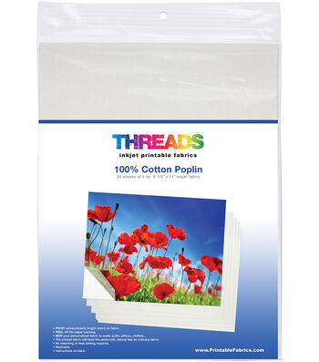 "THREADS Inkjet Printable Fabric Sheets 8.5""X11"" 30/Pkg-Cotton Poplin"