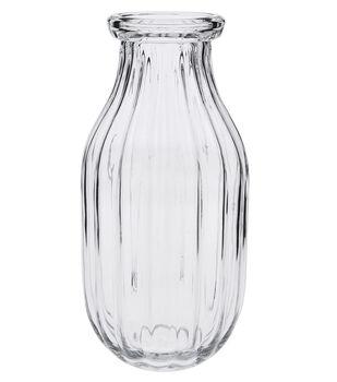 Ribbed Glass Vase 11''