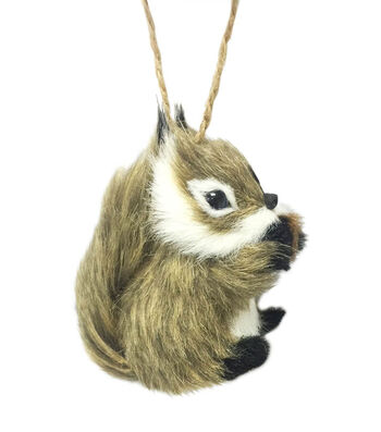 Maker's Holiday Christmas Furry Baby Squirrel Ornament-Brown