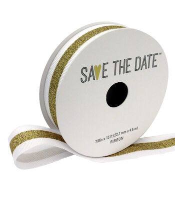 """Save the Date 7/8"""" x 15ft Ribbon-White With Gold Center"""