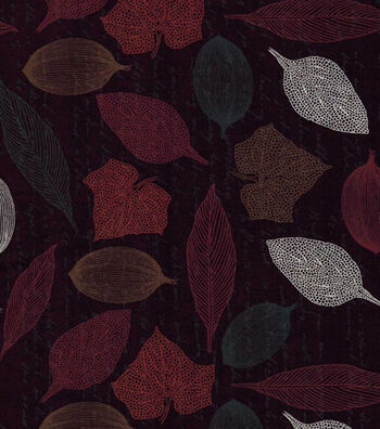 "Harvest Cotton Fabric 43""-Stencil Leaves"