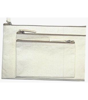 Zipper Bag Set of 3-Natural