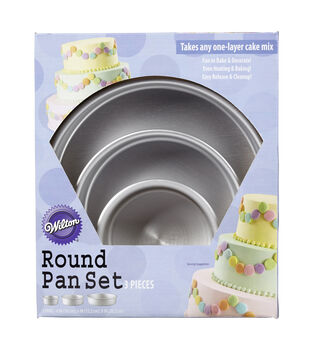 "Aluminum Round Cake Pans, 3-Piece Set with 8"", 6"" and 4"" Cake Pans"