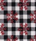 Snuggle Flannel Fabric 42\u0027\u0027-Red Snowflakes on Buffalo Check
