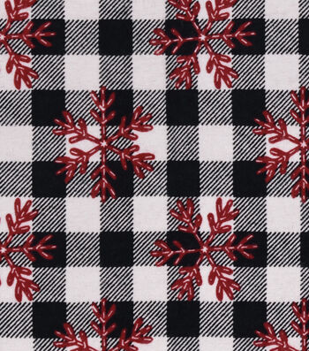 Snuggle Flannel Fabric -Red Snowflakes on Buffalo Check